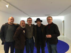 Inauguració Thinking Water, a la Aba Art Gallery. James Lambourne, Pep Coll, Joan Costa, Miquel Segura i Luís Maraver.